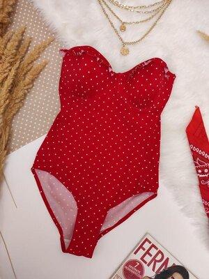 Яскравий червоний в купальник в горошок ліф бандо / купальник по фігурі на великі груди