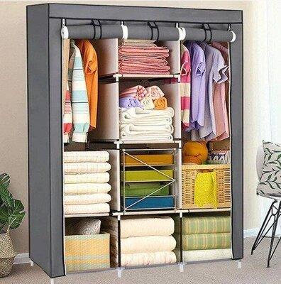 Складной каркасный тканевый шкаф storage wardrobe 88130, шкаф на три секции 130 45 175