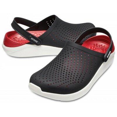 Сабо кроксы crocs literide clog black/white черные-белые