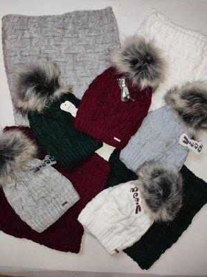 Шапка хомут теплый зимний набор для девочек