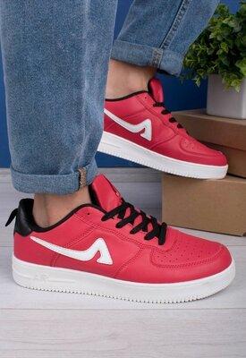 Мужские красные кроссовки кеды на шнуровке