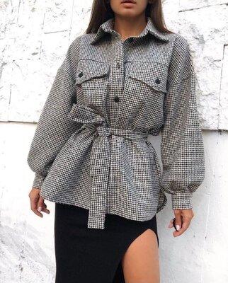 Продано: Стильная женская теплая рубашка под поясок кашемир осень 2021