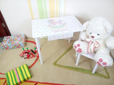 Детский столик и стульчик ЕДИНОРОЖЕК стол-парта стул до 7-8 лет варианты