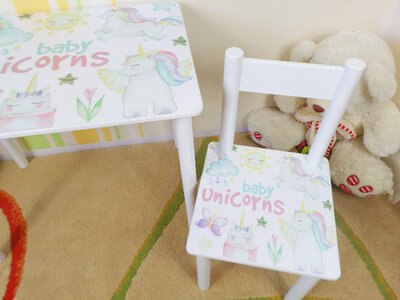 Детский столик и стульчик ЕДИНОРОЖКИ стол-парта стул до 7-8 лет варианты