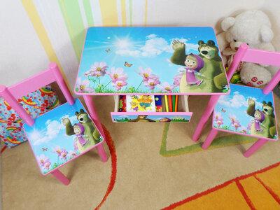 Детский столик и стульчик МАША И Медведь стол-парта стул до 7-8 лет варианты
