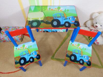 Детский столик и стульчик Синий Трактор стол-парта стул до 7-8 лет варианты