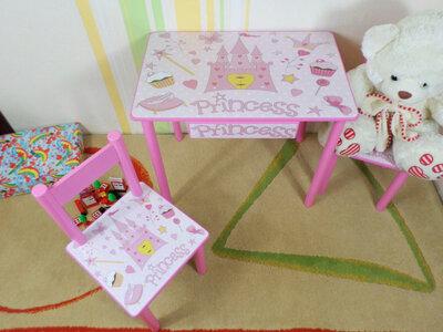 Детский столик и стульчик ПРИНЦЕССА стол-парта стул до 7-8 лет варианты