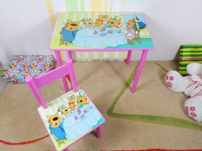 Детский столик и стульчик ТРИ Кота стол-парта стул 2-7 лет варианты