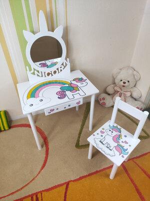 Детское Трюмо с зеркалом на возраст 2-7 лет столик туалетный трельяж и стульчик