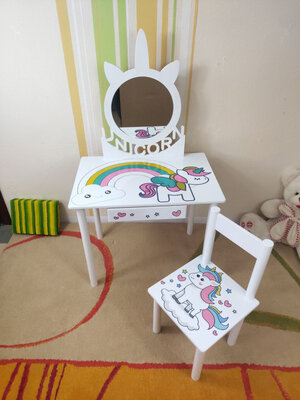 Детское Трюмо Единорожек с зеркалом на возраст 2-7 лет столик туалетный трельяж и стульчик