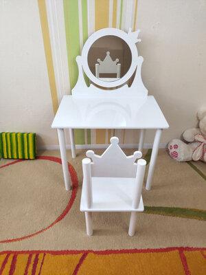 Детское Трюмо с зеркалом на возраст 2-7 лет столик туалетный трельяж и стульчик варианты