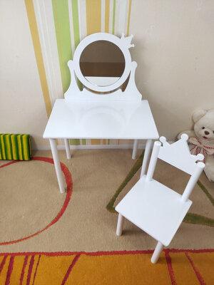 Детское Трюмо с зеркалом Корона на возраст 2-7 лет столик туалетный и стульчик
