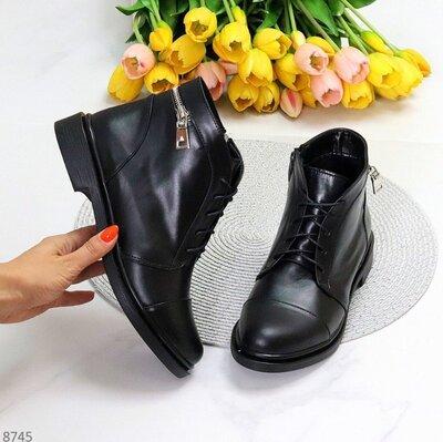 Кожаные женские ботинки на низком ходу женские кожаные ботинки lola черевики 36,40р код 8745