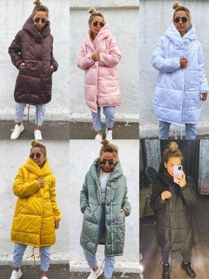 Теплая объемная зимняя куртка Зефирка на силиконе, пальто с капюшоном, на молнии и кнопках