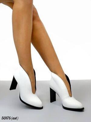 Женские натуральные кожаные ботинки ботильоны на каблуке