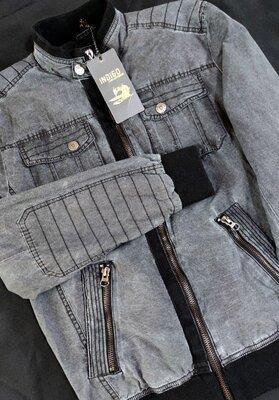 Мужская красивая куртка на молнии с карманами INDIGO коттон этикетка