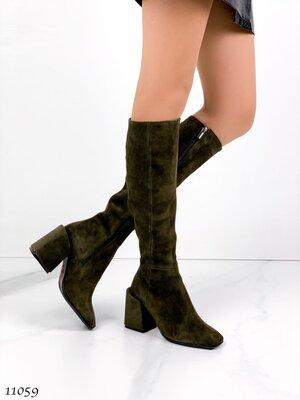Женские натуральные замшевые кожаные демисезонные сапоги сапожки на устойчивом каблуке