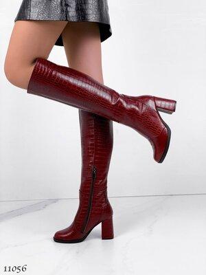 Женские натуральные кожаные демисезонные сапоги сапожки на устойчивом каблуке