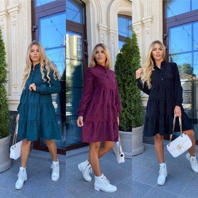 Женское вельветовое платье