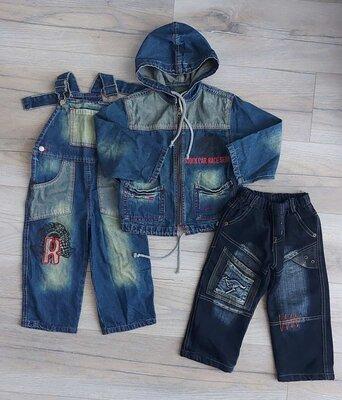 Джинсы на флисе, джинс. костюм куртка и комбез - на 1,5-2 года