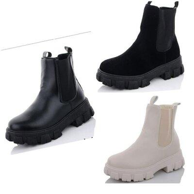 Продано: Ботинки женские деми челси черные бежевые