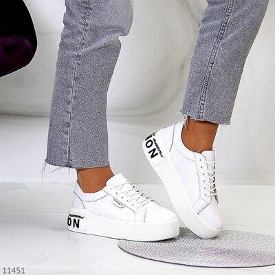 Белые кожаные кроссовки fashionsport, кожаные белые красовки, белые кросовки 36-40р код 11451
