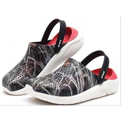 Crocs сабо кроксы literide clog smoke/perl white камуфляжные