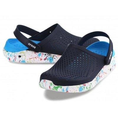 Crocs сабо кроксы literide clog navy/white кляксы темно-синий