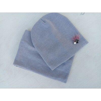 Набір трикотажний для дівчинки шапка хомут. Розмір 52-54. На флісі.