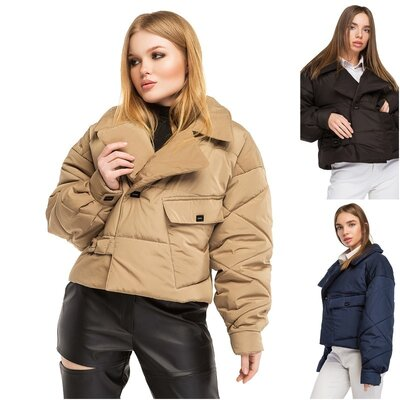 Женская короткая демисезонная стеганная куртка, укороченная курточка в стиле оверсайз