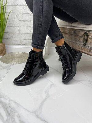 Ботинки демисезонные женские ботильоны натуральная кожа замш каблук черные
