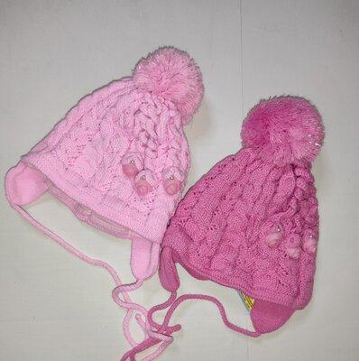 Шапка осенняя на завязках для грудничков малышей