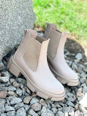 Продано: Кожаные демисезонные ботинки, бежевые ботинки челси кожаные ботинки cristof черевики 36-40р код 4356
