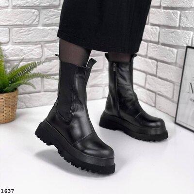 Кожаные демисезонные ботинки на платформе, кожаные ботинки берцы,шкіряні черевики 36,40р код 1637