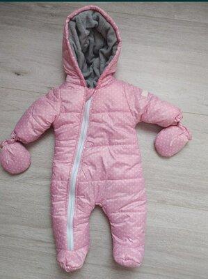 Комбинезон зима зимний для новорожденных, 0-3 месяцев, рост 56, для девочки