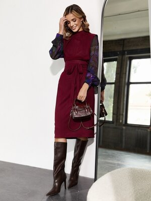 Замшевое платье-футляр, рукава-шифон