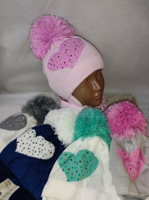 Шапка шарф зимний набор для девочек
