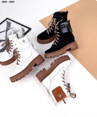 Зимние и демисезонные ботинки с кармашком. Натуральная кожа и замша.