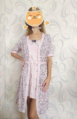 Комплект нічна сорочка халатик
