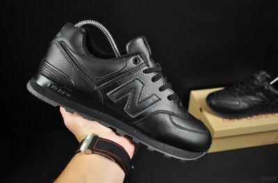 Кроссовки мужские New Balance 574 черные, кожа