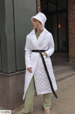 Стеганая длинная куртка пальто пуховик из водоотталкивающей плащевки на синтепухе 80