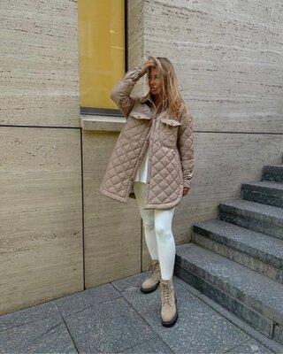 Стильная куртка рубашка стеганная с поясом 42-46 и 48-50