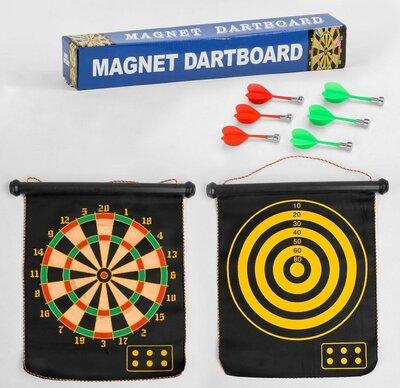 Дартс магнитный двухсторонний c 33998, дротики 6 шт, поле 15 дюймов, поле 45 41 см в коробке
