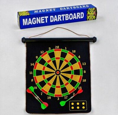 Дартс магнитный двухсторонний c 33999, дротики 6 шт, поле 17 дюймов, поле 50 41 см в коробке