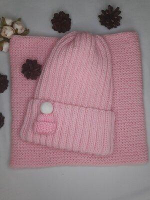 Продано: Комплкт вязаний шапка снуд