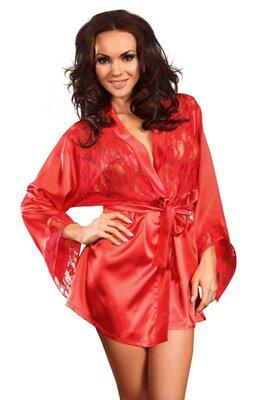 Prilance чрасный или белый атласный халат короткий с кружевом