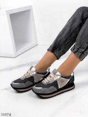 Женские натуральные кожаные замшевые кроссовки