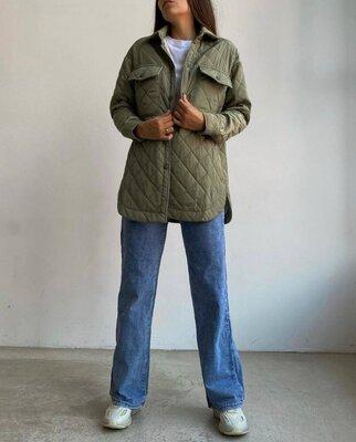 Стеганая куртка рубашка с поясом на синтепоне теплая непродуваемая 3 цвета