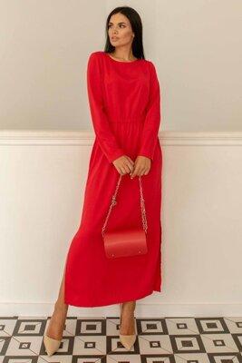 Красное платье свободного силуэта макси | 51019