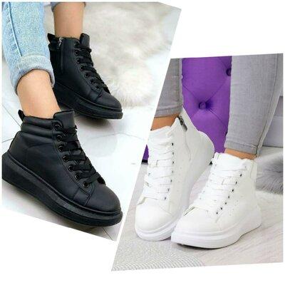 Продано: Кеды кроссовки криперы женские черные белые утеплённые